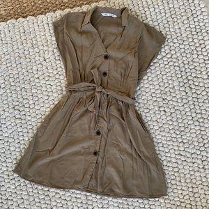Zara Button down khaki dress